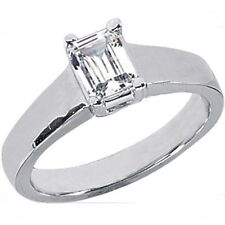 1 carat Emerald cut Natural Diamond Engagement Ring D color 14K White Gold #203