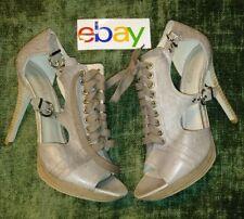 Aldo Tan gray Leather Lace Up PEEP TOE Toe Stiletto Heel Women's sz 40 MSRP $100