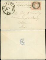 ms. 9/2 1869, Bold & Scarce BARREE FORGE PA. Cds on Cover w Letter to BALTO, #65