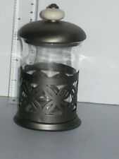 5.5 Inch Tall Glass, Metal & Porcelain Canister