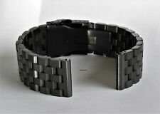 PVD 22mm BLACK HEAVY BRUSHED STAINLESS STEEL WATCH BAND,BRACELET DOUBLE LOCK MEN