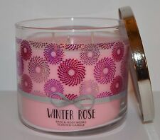 NEW BATH & BODY WORKS WINTER ROSE SCENTED CANDLE 3 WICK 14.5 OZ LARGE PINK PETAL
