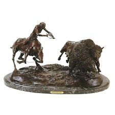 Double Buffalo Hunt by Charles Russell Bronze