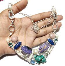 Turquoise Charorite Pink Opal Biwa pearl Gemstone Silver Jewelry Necklace