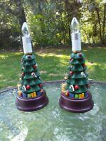 "Christmas Tree Table Lamp Light 9"" Set Of 2 Holiday Gift Decoration Home Decor"