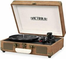 Victrola Record Player Vintage 3-Speed Bluetooth Suitcase Turntable -Brown/Beige