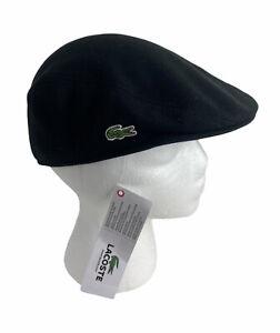 NEW Lacoste Pique Cotton Flat Casual Mens Cap Hat Black Croc NWT