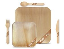 More details for 125pcs foogo green disposable palm leaf plates+ wooden cutlery set |eco-friendly