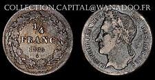 Belgique 1/4 Francs 1835 Léopold 1er Argent Côte TTB 200€ (P)