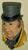 Vintage Bosson Chalkware Head Dickens David Copperfield Mr Micawber 1964