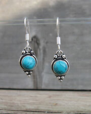 "Santa Rosa Turquoise 925 Sterling Silver Mini Round Setting Dangle Earrings 1.4"""