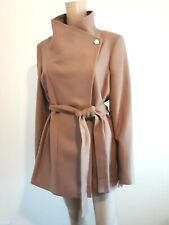 TED BAKER PARIA TAUPE WOOL & CASHMERE WRAP COAT UK 12 TED 3 USA 8 RRP £249 BNWT