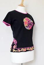 SHANGHAI TANG cotton knit short sleeve embroided sweater jumper crew neck M