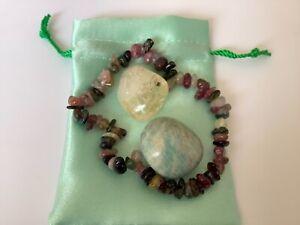 Crystal Gift Set For Anxiety. Watermelon Tourmaline, Citrine & Amazonite 1