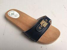 Scarpe Uomo Ciabatte Zoccolo Fascia Regolabile Legno Faggio Blu  Made in Italy