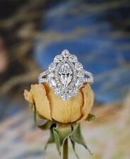 Engagement Ring Solid 925 Sterling Silver 1.65Ct Marquise Cut Real Cz Beautiful