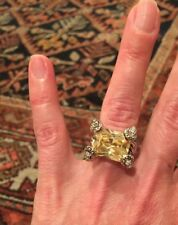 "NEW ""designer inspired"" Light Yellow CZ Ring cable detail & Pave Prong size 6"