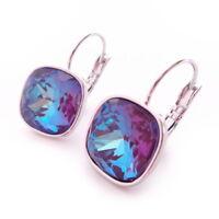 Burgundy Delite Crystal Drop Earrings w/12mm Cushion Swarovski Prom Gift Jewelry