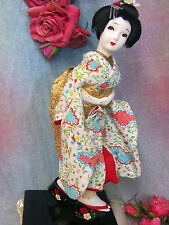 VINTAGE Asian JAPANESE Geisha DOLL gold metallic KIMONO platform shoes NINGYO 14