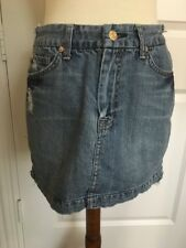 Womens 7 For ALL MANKIND 29 A Pocket Destroyed Denim Short Mini Jean Skirt