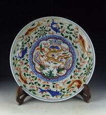 Chinese Antique Five Colored Porcelain Plate w Dragon&Phoenix
