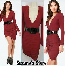 NWT bebe RACHEL DEEP V SHIRRED Dress SIZE XS Very attractive and sexy $160