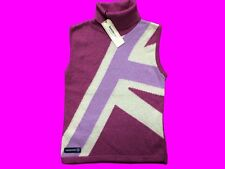Lambretta Wine Union Jack Sleevless Turtleneck Sweater Made in England UK Size 8