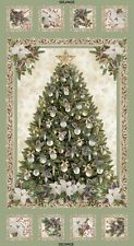 Christmas Tree Panel-Pine Cones & Poinsettias-Sage B/G-Silver Metallic Outlines