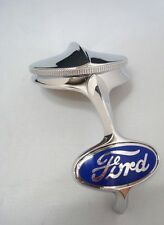 1932 Ford Radiator Grille Shell Chrome Ornament  & Rad Cap + Blue Emblem Kit