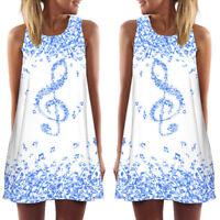 UK Women Summer Vintage Sleeveless Loose Casual Tank Short Mini Vest Beach Dress