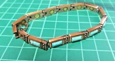 RETRO COPPER PLATED RECTANGULAR LINKS TURQUOISE STONES MAGNETIC THERAPY BRACELET