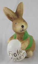 Ostern Osterhase Hase mit Ei Frohe Ostern Grün 10 x 7 cm Keramik Osterdeko Neu