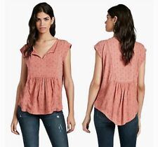 Lucky Brand Rust Rose Bohemian Blouse XL Gorgeous Cotton Empire Embroidered