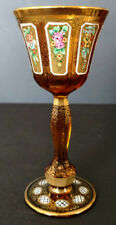 Antique Egermann Art Glass Hand Made & Decorated 8 Panel 1930's Wine Glass Fine!