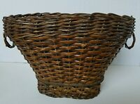 Vintage Woven Rattan Basket Wicker Ring Decorative Handles Oval Wood Bottom
