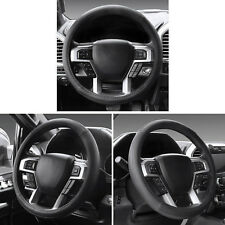 Car Auto Truck Leather Handmade Steering Wheel Cover Protector 15 inch