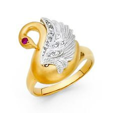 Duck Band Cz Goose Satin Fancy Fashion Swan Ring Solid 14k White Yellow Gold