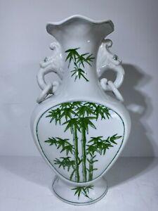 Fine Chinese White & Green Porcelain Vase Flawless Palm Beach Regency Bamboo