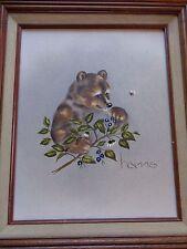 "PEGGY HARRIS Original Oil Painting  Bear w/ Blueberries & Bee FRAMED 15"" x 13"""