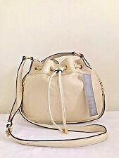 PERLINA Gemma Drawstring Crossbody Genuine Leather Bag Bone NWT $178
