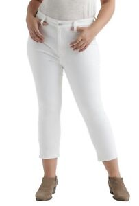 LUCKY BRAND 18 Womens Emma Slimming White Denim Cropped Jeans High Rise Curvy