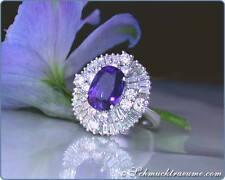 Prächtig: Klassischer Ceylon Saphir Ring mit Brillanten, 5,42 ct. WG750 14.800€