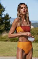 Ellejay High Waist Carolyn Bikini Bottom Orange Size Small New with Tags