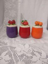 Set of 3 Colourful Vintage Marmalade/jam Pots