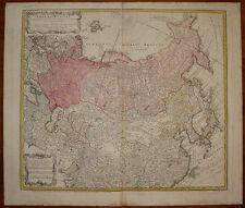 stampa antica old print Russia Asia China 1745 homann heirs kupferstich map
