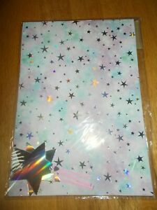 LILAC & GREEN SILVER STAR DESIGN GIFT WRAP AND TAG SET - 2 SHEETS & 2 TAGS