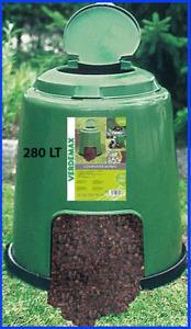 Compostiera da giardino bidone compostaggio rotondo 280lt bio compost resistente