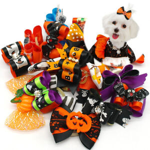 20/200pcs Halloween Skull Bat Pumpkin Dog Grooming Hair Bows Rubber Band Yorkie