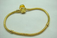 1pcs Snake Chain 20cm P gold Plated Charm Bracelets Fit European Beads 80j