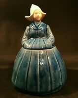"""Vintage Dutch girl cookie jar. Blue with white head and hat. 12"""" tall."""
